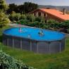 Piscina acero aspecto grafito Gre, sistema OMEGAS-Ovalada 730x375x132-Filtro arena