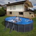 Piscina acero aspecto GRAFITO  GRE - Ovalada 500X300x120 - Filtro arena
