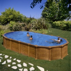 Piscina acero aspecto madera, sistema OMEGAS GRE - Ovalada 730x375x132 - Filtro arena