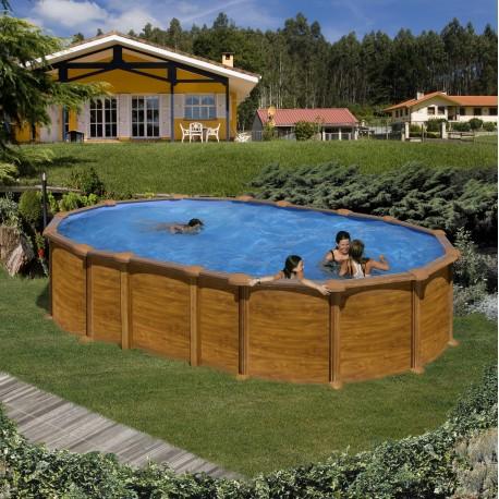 Piscina acero aspecto madera, sistema OMEGAS GRE - Ovalada 610x375x132 - Filtro arena
