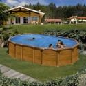 Piscina acero aspecto madera GRE, sistema OMEGAS - Ovalada 610x375x132 - Filtro arena