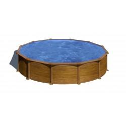 Piscina acero aspecto madera GRE - Redonda Ø550x132 - Filtro arena