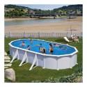 PACK ESPECIAL - Piscina Ovalada 610x375x132  Acero Blanco GRE  - Filtro arena y Liner GRESITE