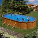 Piscina acero aspecto madera GRE - Ovalada 730x375x120 - Filtro arena
