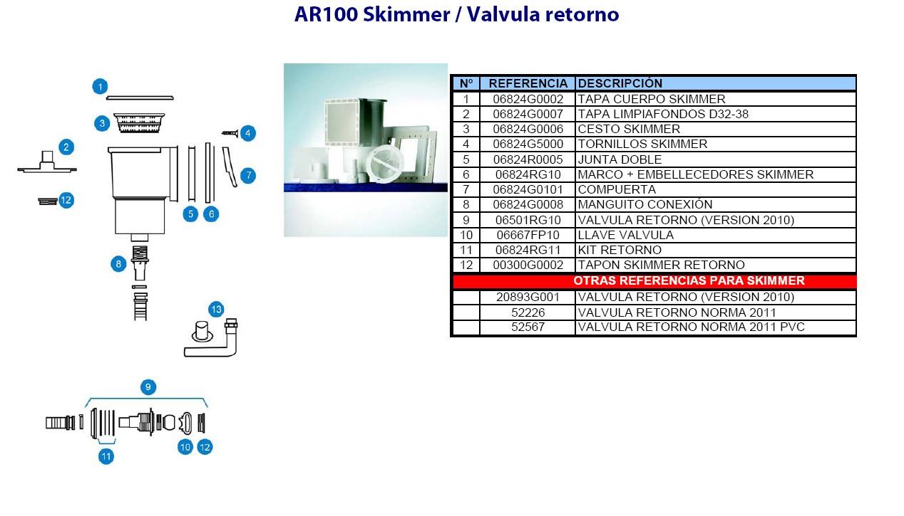 Repuestos skimmer GRE AR100 - Piscinas Tui