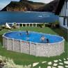 Piscina acero aspecto piedra, sistema OMEGAS GRE - Ovalada 730x375x132 - Filtro arena