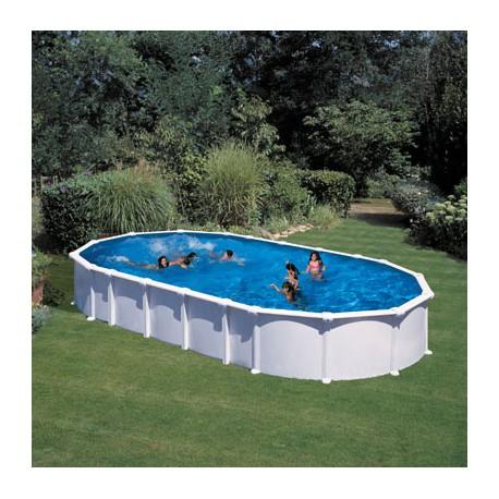 Piscina acero blanco, sistema OMEGAS GRE - Ovalada 915x470x132 - Filtro arena