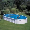 Piscina acero BLANCO  GRE, sistema OMEGAS - Ovalada 915x470x132 - Filtro arena