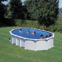Piscina acero BLANCO  GRE, sistema OMEGAS - Ovalada 610x375x132 - Filtro arena