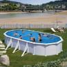 Piscina acero blanco GRE - Ovalada 730x375x132 - Filtro arena