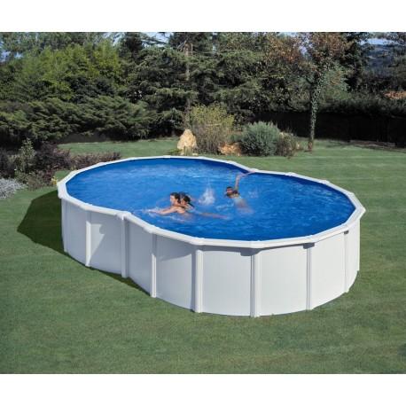 Piscina acero blanco GRE - Forma de Ocho 710x475x120 - Filtro arena
