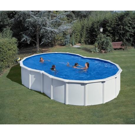Piscina acero blanco GRE - Forma de Ocho 640x390x120 - Filtro arena