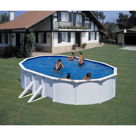 Piscina acero blanco GRE - Ovalada 610x375x120 - Filtro arena